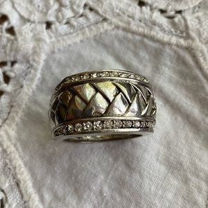 Brighton wide woven silver ring with Pavé crystals